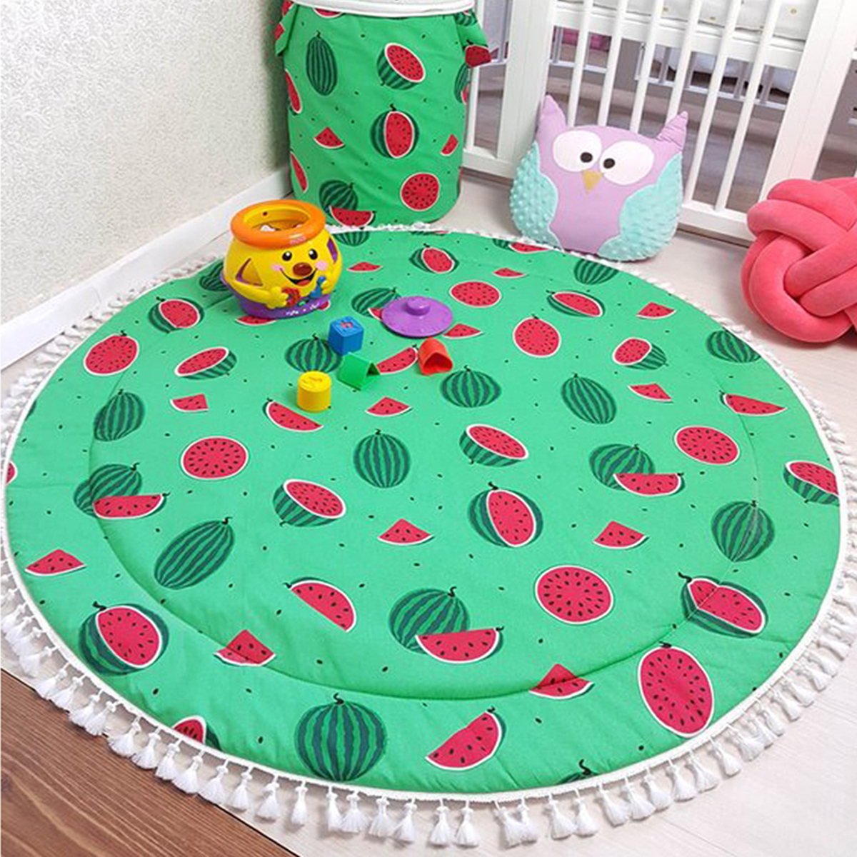Puseky Hot Selling Watermelon Double Sided Printings 90cm Baby Activity Mat For Baby Bedroom Decoration Baby Playmat
