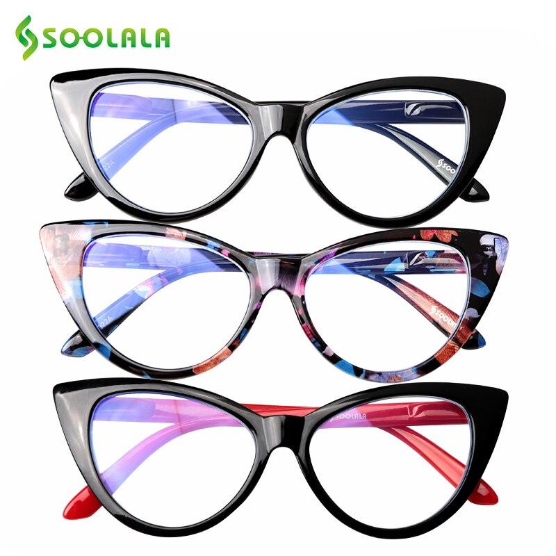 SOOLALA Anti Blue Light Blocking Cat Eye Reading Glasses Women Floral Eyeglasses Frame Presbyopic Reading Glasses +0.5 To 4.0
