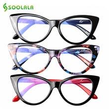 SOOLALA ojo de gato Anti luz azul gafas de lectura mujeres Anti reflejo Presbyopic ordenador gafas marco gafas de lectura gafas de sol