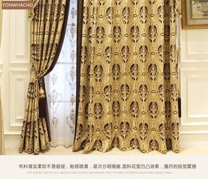Image 5 - Özel perdeler lüks avrupa Villa oturma odası kalın şönil jakarlı altın bez karartma perdesi valance tül paneli B536