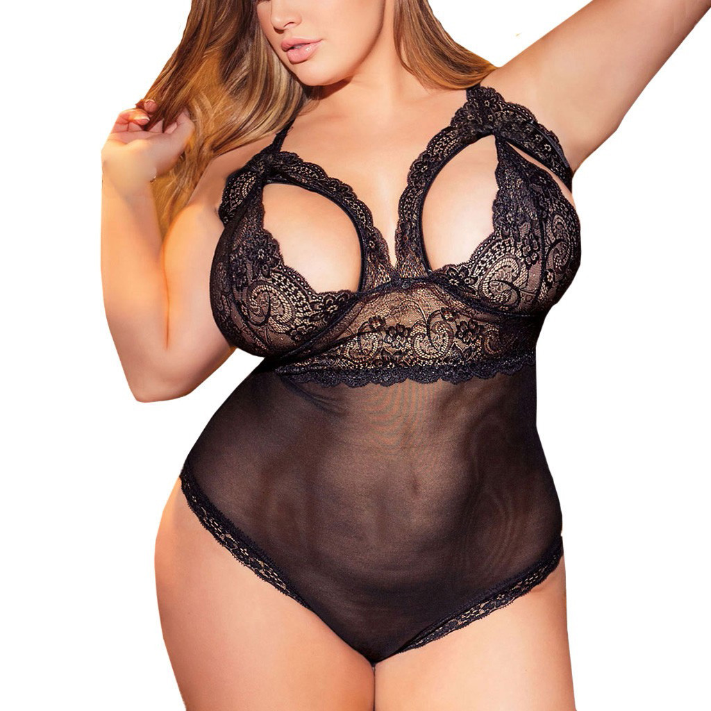 Women Plus Size Lace Sexy Lingerie Underwear Erotic Teddy Sleepwear Female Hollow Out Porno Sex Nightgown Exotic Baby Doll 3-5XL