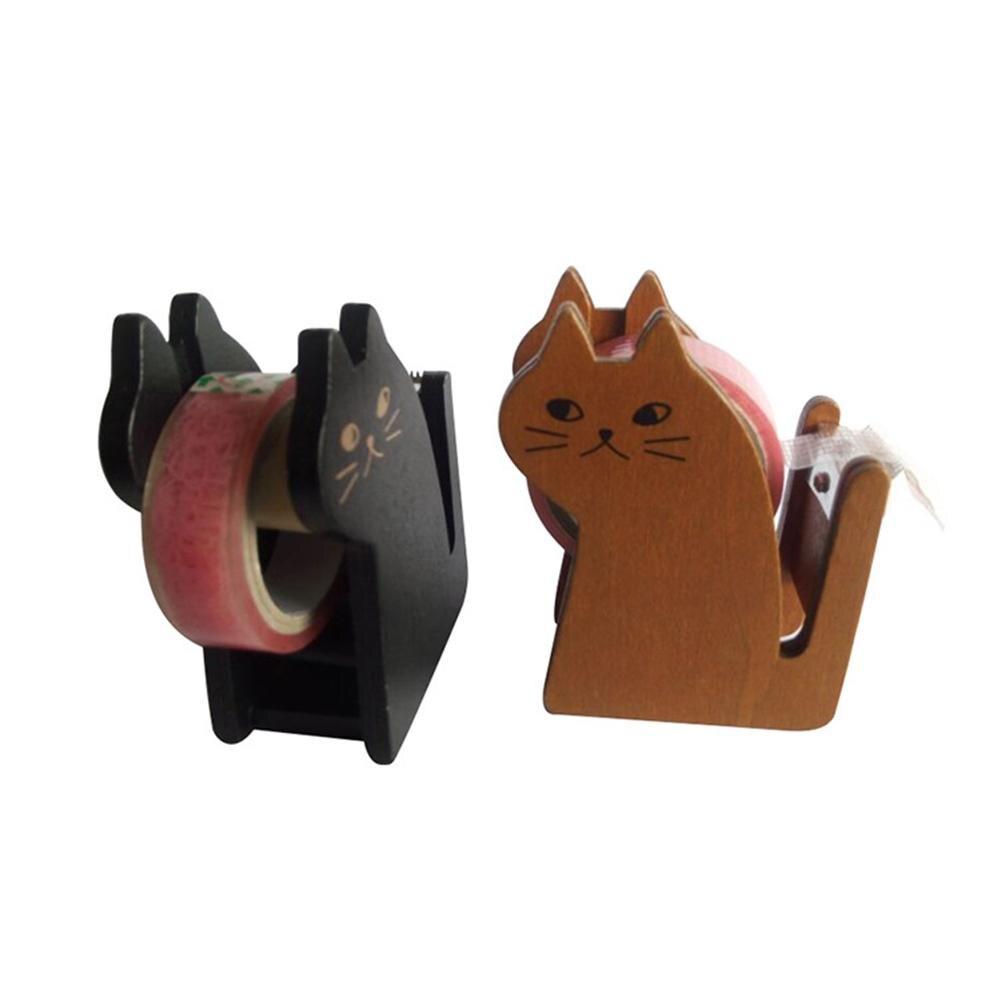 Wooden Portable Cat Roller Tape Holder Dispenser Packaging Sealing Cutter Tool