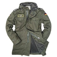 German Army Military Jacket Men Winter Cotton Jacket Thermal Trench with Hood Jackets Fleece Lining Coat