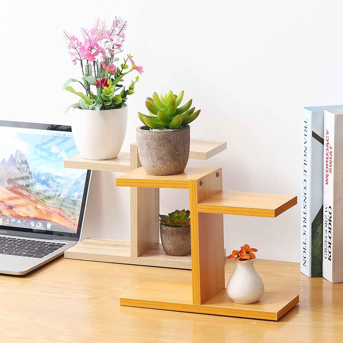 Retro Household MDF Multi-layer Plant Stand Succulent Shelf Rack Balcony Indoor Coffee Bar Desktop Garden Flower Pot Shelf