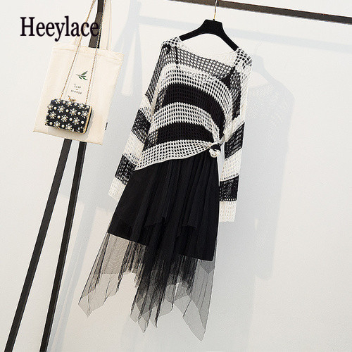 plus size autumn knit striped fishnet shirt and irregular mesh spaghetti straps dress set for women teo piece set long sleeve(China)