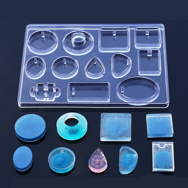 Geometric Water Drop Puzzle Shapes Pendant Resin Mold Mould Silicone Clear Jewelry Solid Molds Making Maker Tool Epoxy Wait