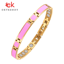 Oktrendy Pink Stainless Steel Magnetic Therapy Bracelet Luminous Charm Bracelets For Women Bio Healing Bangle 3000Gauss