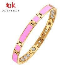 Oktrendy магнитный браслет для женщин розовый из нержавеющей