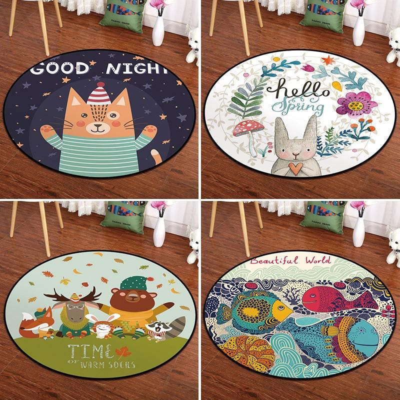 Customized Cartoon Round Bedroom Carpet Mat Children's Room Bedside Baby Climbing Mat