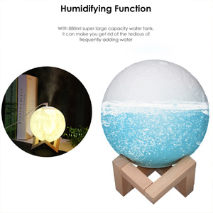 Image 5 - ขนาดใหญ่ 880Ml Air Humidifier Aroma Essential Oil Aroma DiffuserสำหรับHome 3d Led Moon Light USB Aromatherapy Diffuser Dropเรือ