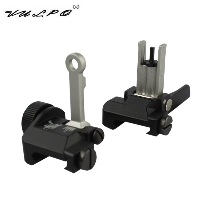 VULPO KAC Style Zinc Alloy 300M Flip Up Folding Iron Sight Front Rear Sight For Airsoft Hunting