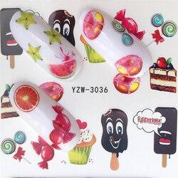 FWC 1 лист летнее мороженое фрукты Клубника Вишня торт дизайн ногтей переводная Наклейка Декор слайдер Наклейка Маникюр Инструмент