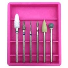 6 шт. Алмазный Набор для ногтей фреза для маникюра роторные боры чистые биты электрическая машина художественный аксессуар 3