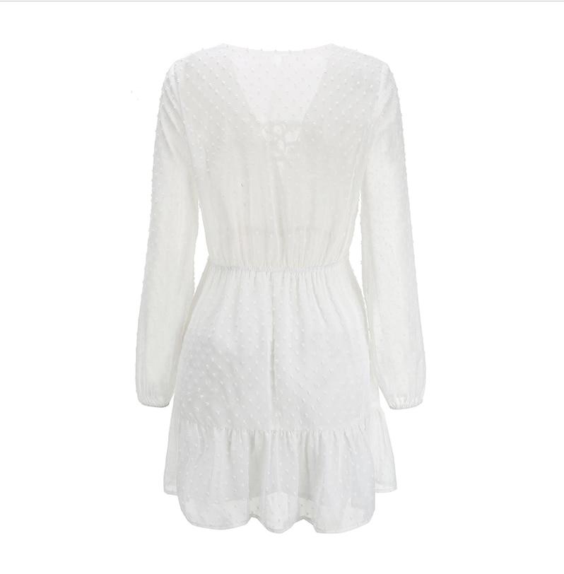 Elegant Ruffles Lace Up Long Sleeve White Mini Dress 5