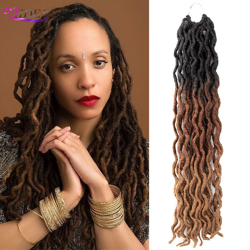 Synthetic Braiding Hair Extensions Goddess Faux Locs Ombre Curly Crochet Hair 18 inches Soft Dreads Dreadlocks Crochet Braiding