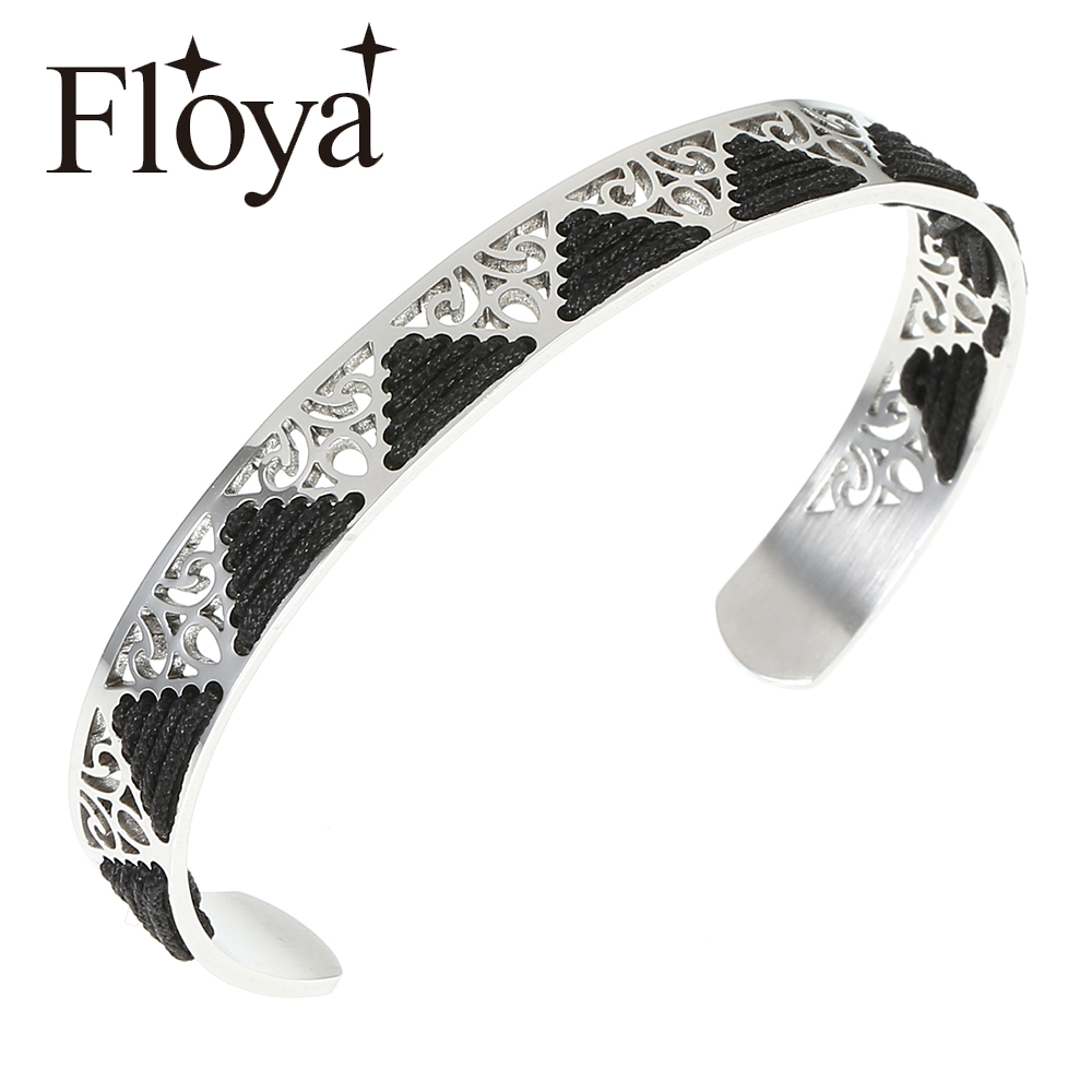 Floya High Quality Graceful Punk Weave Triangle Stainless Steel Cuff Bangles Beautiful Knitted Black Strand Bracelet