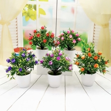 1pc Artificial Flower Simulation Green Plant Bonsai Wedding Home Furnishing Potted Artificial Plant-Red Lotus