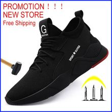 Free shipping Work Safety Boot Men Steel Toe Safety Shoes Puncture-Proof Outdoor