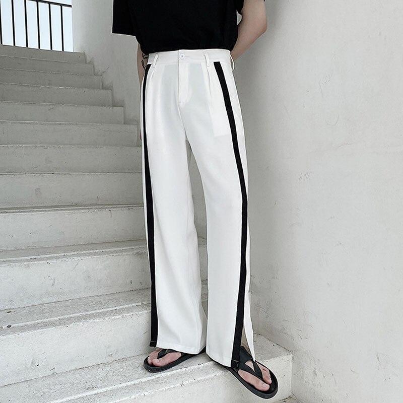 Men Side Splice Casual Straight Suit Pant Male Streetwear Vintage Fashion Loose Long Trousers Japan Korea Style Pants Polyester