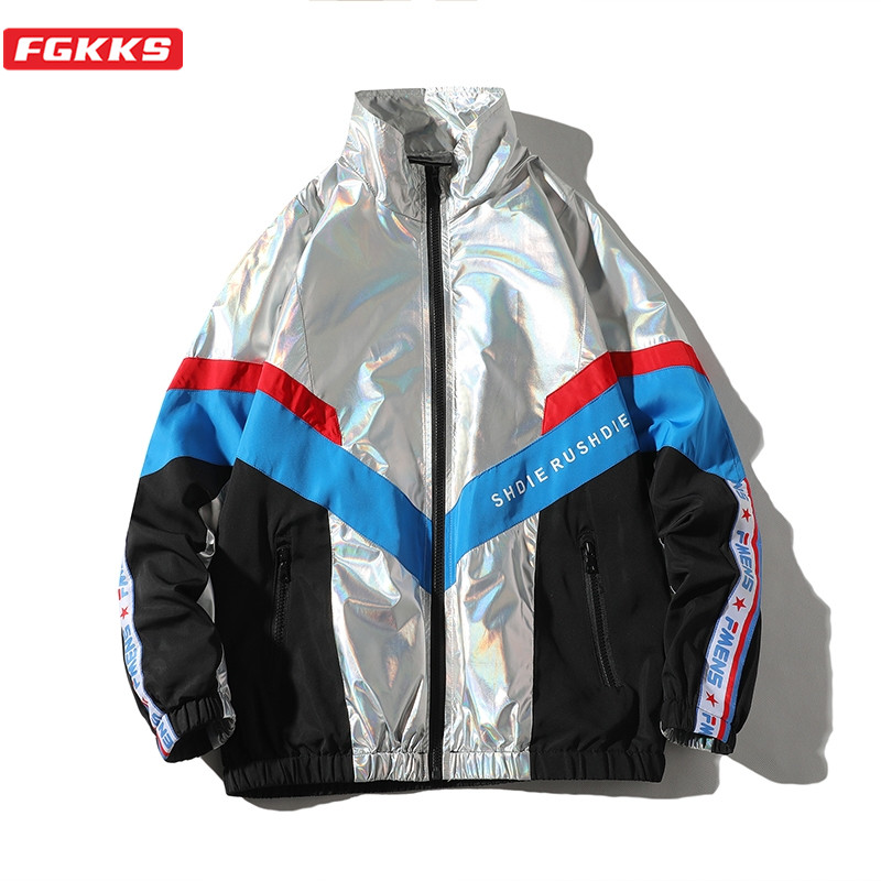 FGKKS New Men Fashion Jackets Trend Brand Men's Patchwork Wild Jacket Streetwear Male High Street Hip Hop Jacket Coats