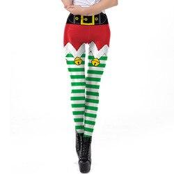 Amazon международная торговля Новые Продукты Рождественская одежда женские 3D зеленые и белые полосы леггинсы с принтами SKDK078