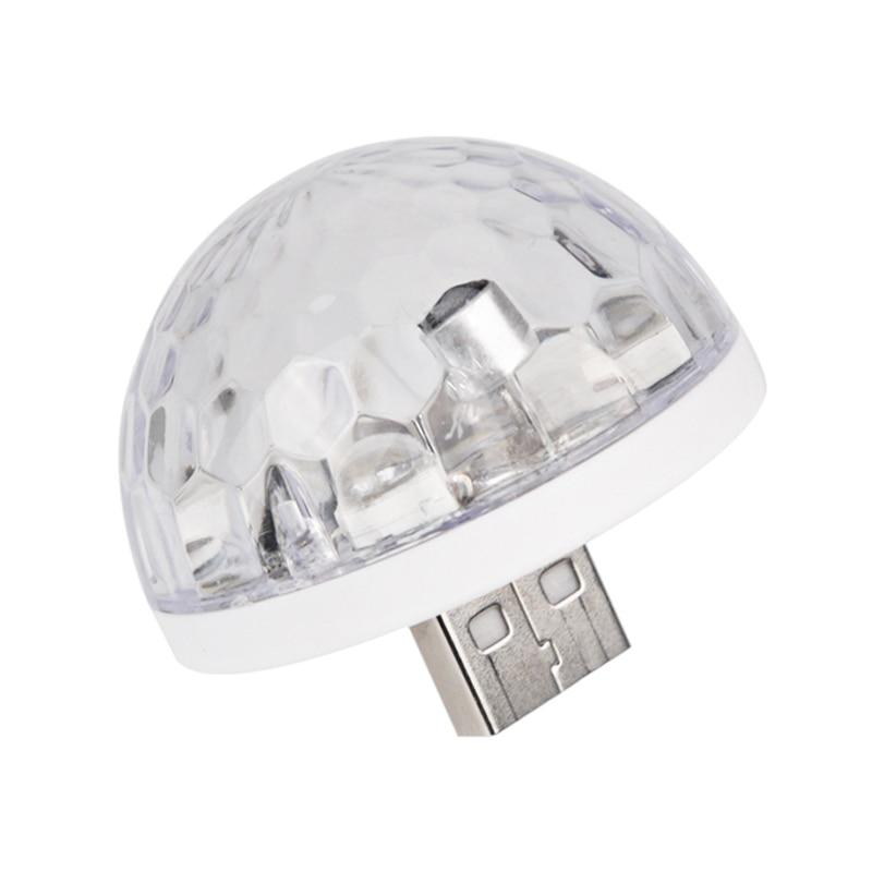 Usb Mini Led Disco Magic Light Ball Portable Karaoke Party Decor Lamp Dj Stage Bar With Android Mic-Usb Adapter White