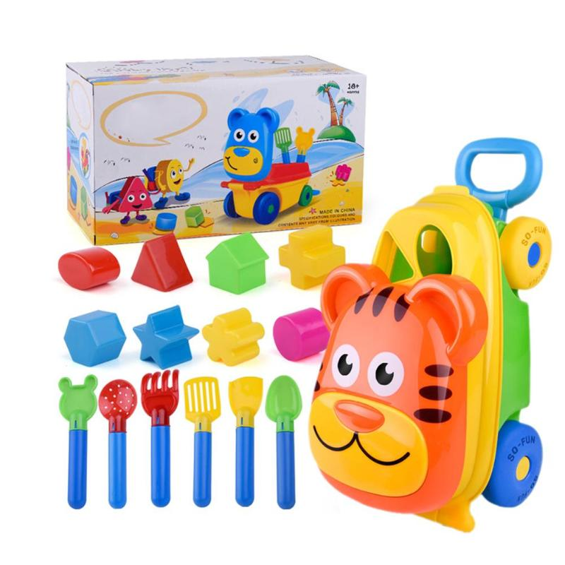 Cartoon Tiger Shape Trolley Sand Beach Pretend Play Toys Spade Storage Case