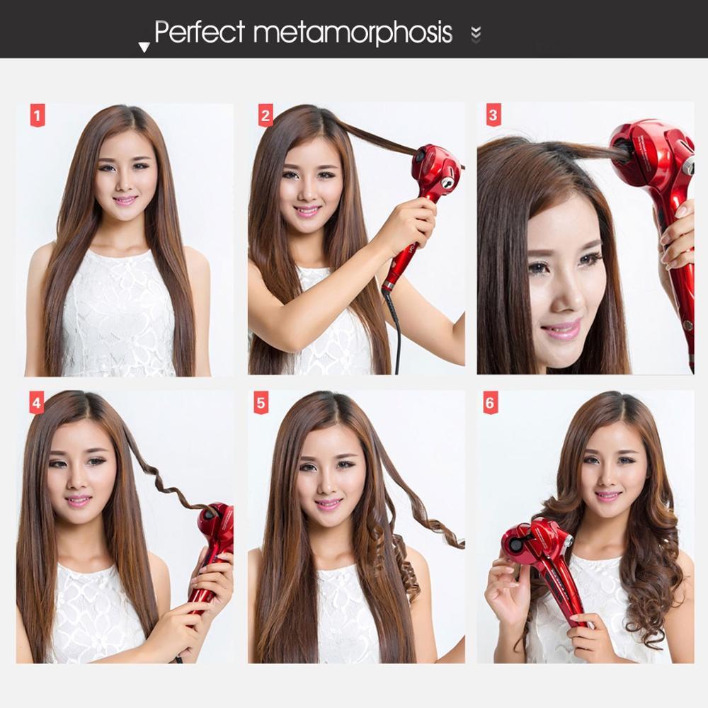 Bigoudi automatique écran LCD chauffage soins des cheveux outils de coiffure nouvelle vague de céramique cheveux Curl magique fer à friser femmes cheveux Styler - 6