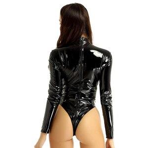 Image 2 - DPOISผู้หญิงOne Piece Latex Leotard Bodysuit JumpsuitชุดนอนหญิงWetlookหนังCollar Double Zipper Gymชุดว่ายน้ำ