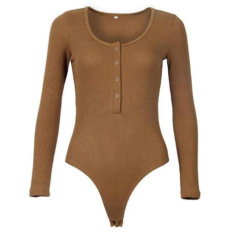 Модный облегающий костюм для тела осенний облегающий костюм Feminino однотонный сексуальный клубный женский комбинезон топы с длинными рукавами Трикотажный боди TS1044