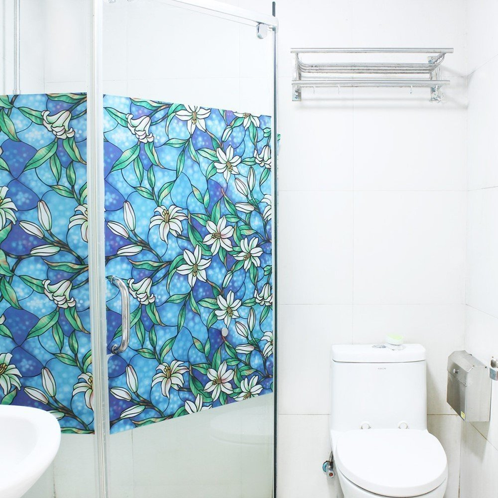 Funlife Decorative Privacy Window Film Stained Glass Window Film Window Cling No Glue Self Static Cling for Home Bathroom Office in Decorative Films from Home Garden