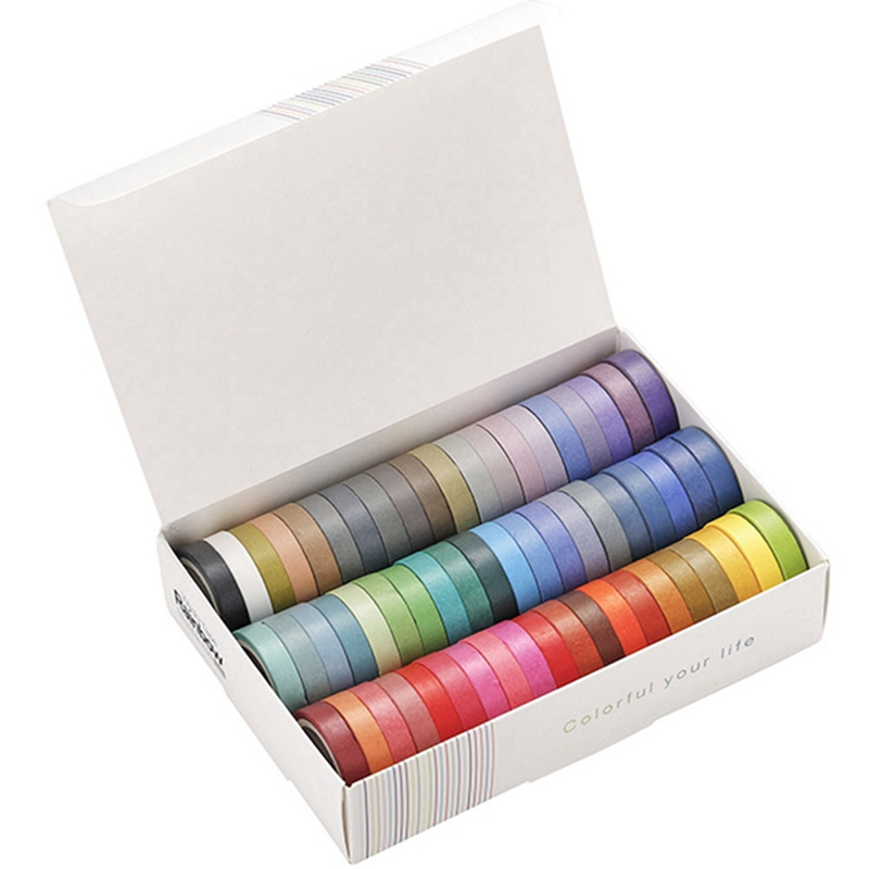 60 Pcs/lot Rainbow Solid Color Decorative Adhesive Tape Masking Washi Tape Set DIY Scrapbooking Sticker Label Stationery