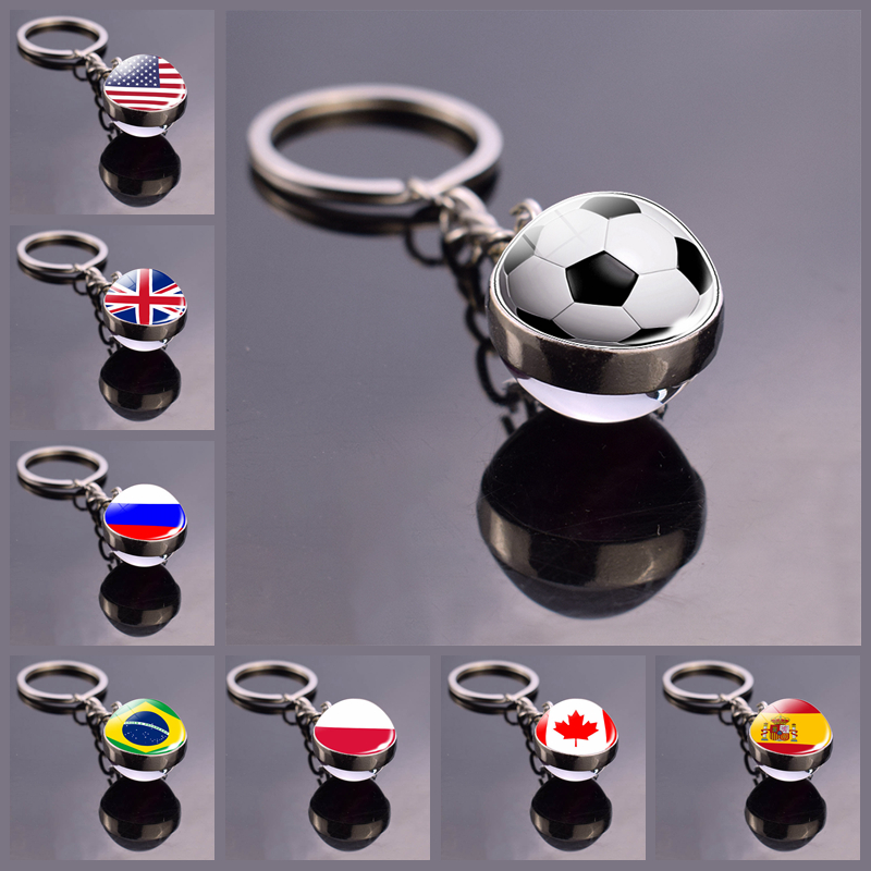 Soccer Keychain Glass Ball Pendant Top World Countries Flag Keyrings Double Side Glass Ball Jewelry National Football Lover Gift