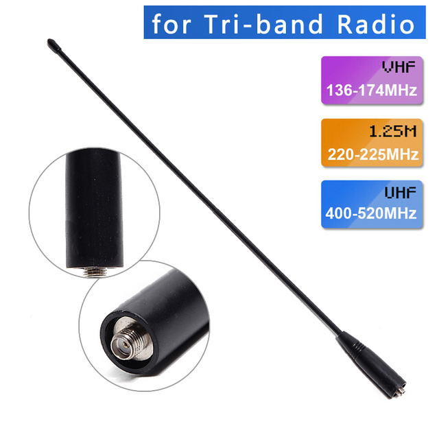 ABBREE AR 771 Tri band 144/222/435Mhz Whip Antenna for Baofeng UV S9 BF R3 UV 82T UV 5RX3 UV 82X3 Walkie Talkie