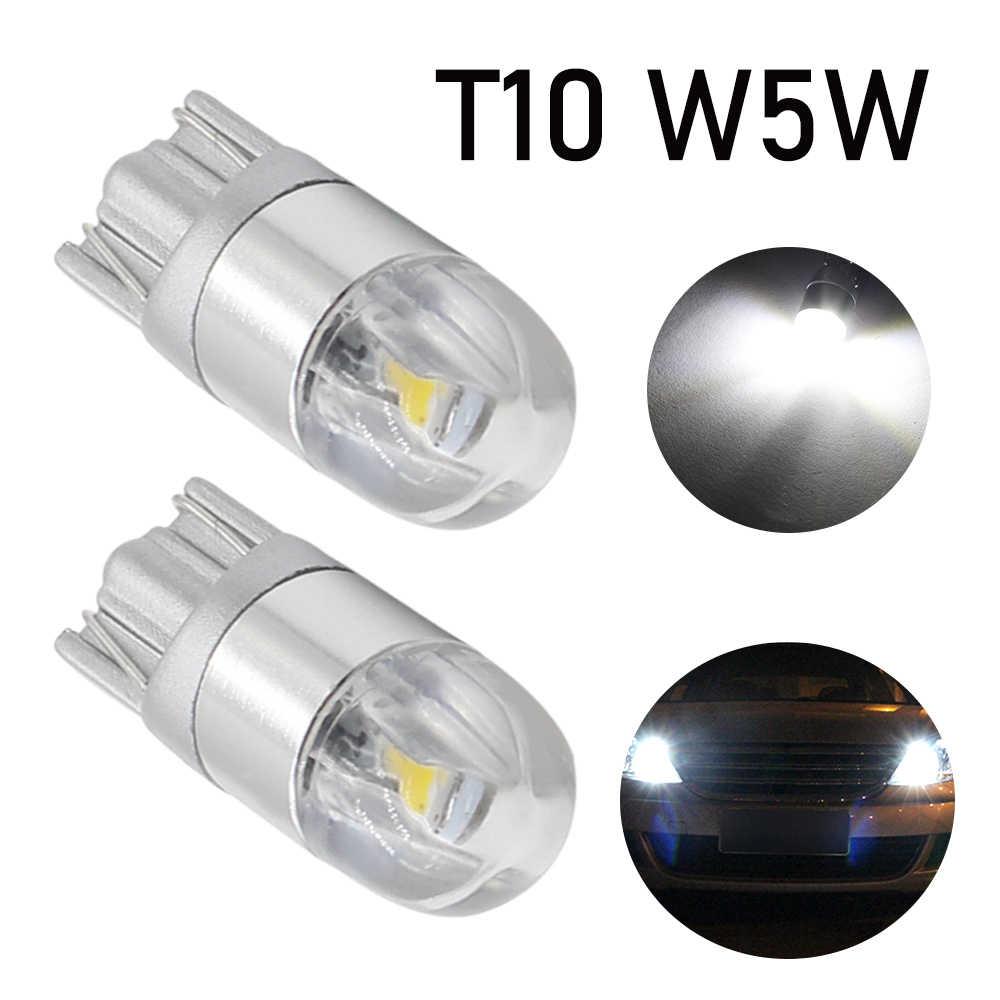 2 sztuk T10 W5W żarówka LED 3030 SMD 168 194 akcesoria samochodowe światła obrysowe lampa do czytania Auto 12V biały bursztynowy kryształ niebieski czerwony silnik