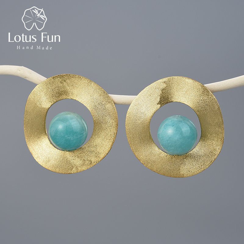 Lotus Fun Natural Gemstone Minimalist Style Uneven Round Stud Earrings Real 925 Sterling Silver 18K Gold Handmade Fine Jewelry