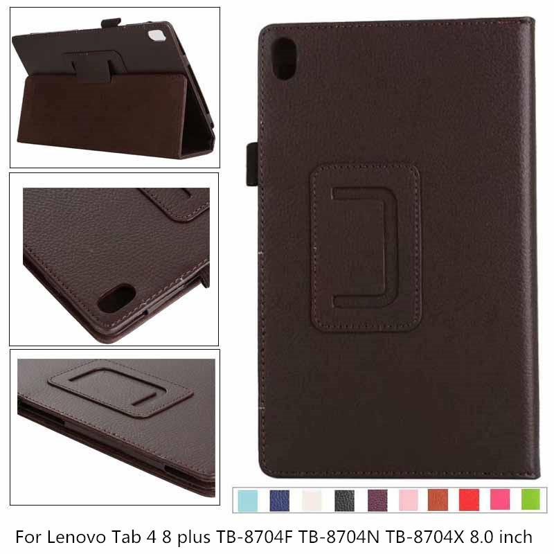 New litchi PU leather Case For <font><b>Lenovo</b></font> Tab 4 8 plus TB-<font><b>8704</b></font> TB-8704F TB-8704N TB-8704X <font><b>8704</b></font> Tablet Leather Stand Case Flip Cover image
