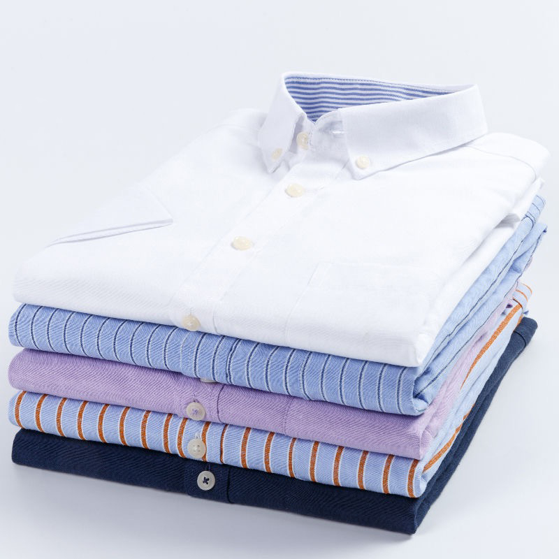 NIGRITY Men Oxford  Shirt Summer Casual Short Sleeve Shirt Soft Comfort Slim Fit Styles Shirt Men Dress Shirts Plus Size 38-44