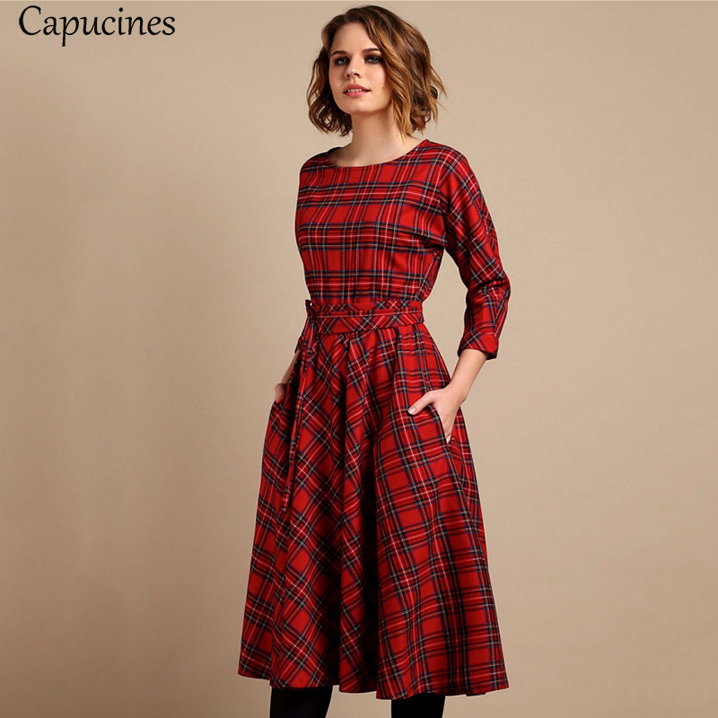 Classic England Style Red Plaid Dress Women Autumn 3/4 Sleeves O-Neck Sashes A-Line Casual Dress Vintage Midi Party Dresses