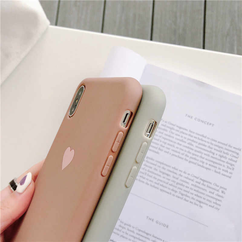 Funda de silicona oso amor corazón para iPhone XS MAX XR X Candy Color fundas de teléfono para iPhone 7 6 6 funda de TPU suave S 8 Plus