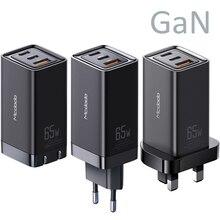 GaN شاحن USB سريع الشحن 65 وات من النوع C ، مع QC4.0 ، PD3.0 ، محمول ، لأجهزة iphone ، Macbook ، Thinkpad ، Dell ، HP ، الكمبيوتر المحمول ، Huawei ، Samsung