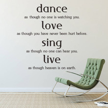 Dance Love Sing Live Quotes Family Lettering Words Wall Sticker Vinyl Home Art Decor Decal Window Glass Poster