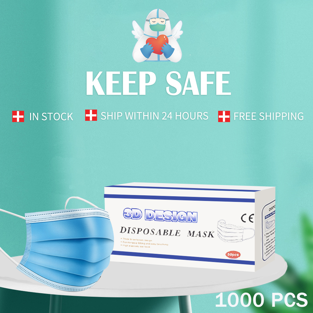 Free Shipping 1000PCS Disposable Face Mouth Mask Nonwoven Masks Anti PM2.5 Flu Hygiene Safe Mouth Face Mask For Women Men