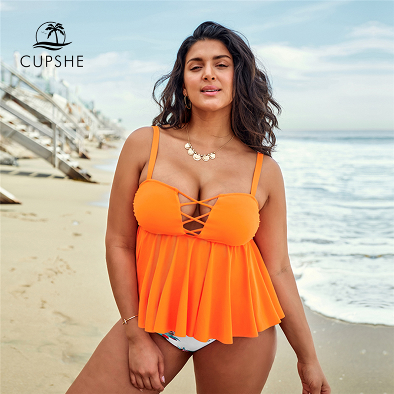 CUPSHE Plus Size Yellow Ruffled Tankini Bikini Sets With Printed Bottom Woman Two Pieces Swimsuits 2020 Bathing Suit Swimwear