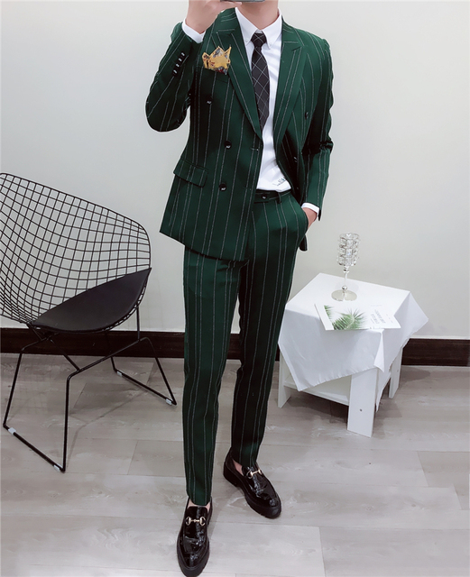 2pcs Pin Stripe Men Suit Design 2019 Green Black White Double Breasted Suit Moking Homme Mariage Slim Fit Ternos Para Hombre