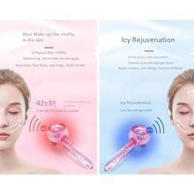Pink Crystal Ice Ball Ice Therapy Massage Glass Beauty Ball J8F1