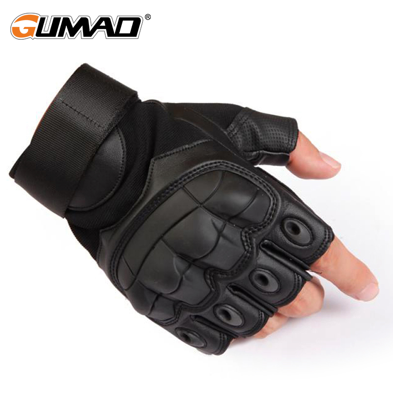 PU Leather Military Tactical Fingerless Glove Army Hiking Climbing Cycling Riding Airsoft Hard Knuckle Half Finger Gloves Men