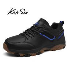 KATESEN men shoes new Men causal Genuine Leather man waterproof sneakers British dress lace-up male leisure