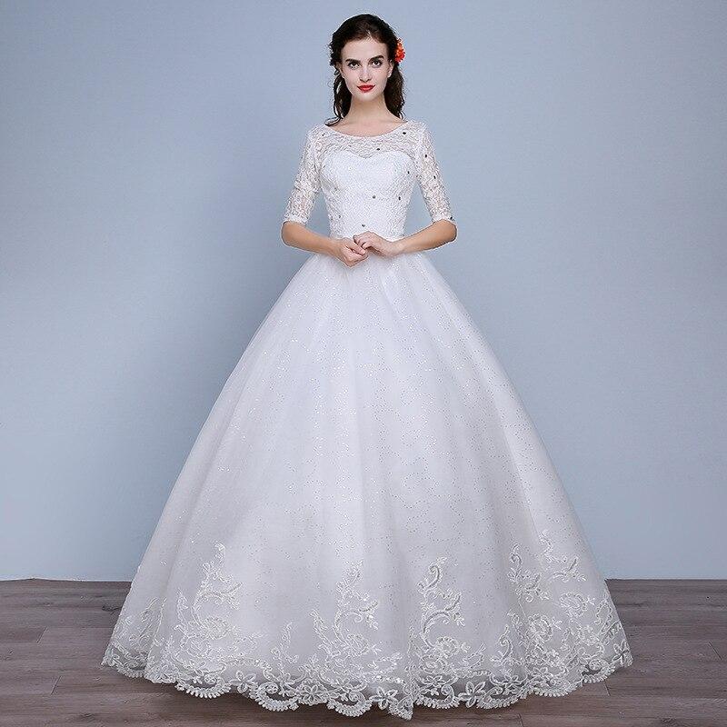 工場卸売セクシーなレースのウェディングドレス本物の写真プラスサイズ長袖花嫁衣装アリババオンライン O ネックスリーブ