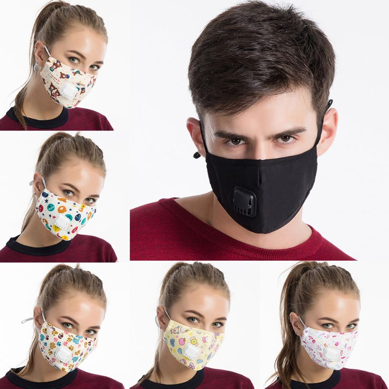 Men Unisex Winter Cotton PM2.5 Mouth Mask   Cartoon  Printed Anti Dust Pollution